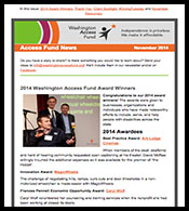 November Access Fund News: 2014 Award Winners, Thank You, Client Spotlight, #GivingTuesday and November Resources