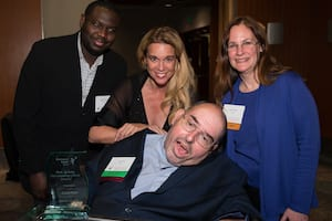 Photo of Scott Palm and Kathy Gilman with two of Scott's guests including Chase Masterson